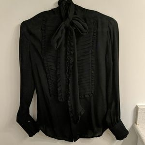 Ralph Lauren Black Label silk pussy bow blouse